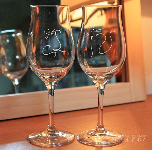猫柄ワイングラス・チューリップ型(ペア) WG-2