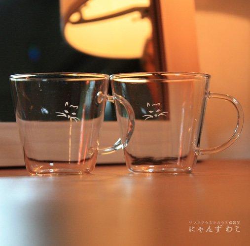 猫柄耐熱ガラス・シンプルマグカップ(ペア) MC-7