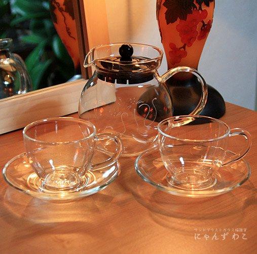 猫柄耐熱ガラス・ティーセット(ティーポット+カップ&ソーサ・ペア) T-SET-4