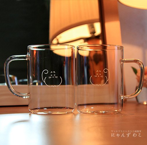 招き猫柄耐熱ガラスマグカップ(ペア)MC-8