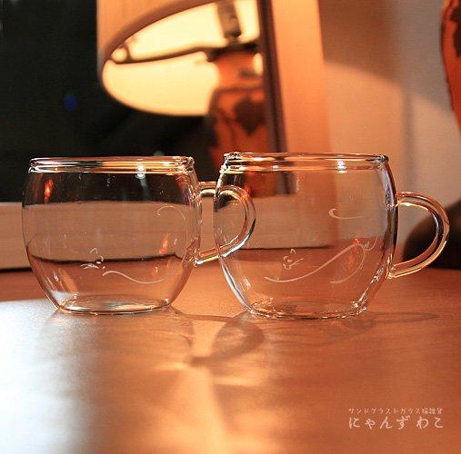 猫柄耐熱ガラス・マグカップ(ペア)MC-11