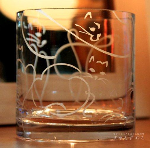 猫柄ガラス花瓶・シリンダー型 9cats V-14