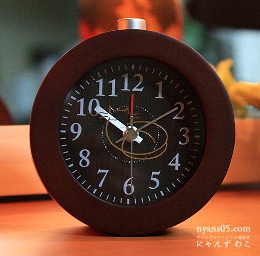 猫柄目覚まし時計(サークル・ダークブラウン) CL-11