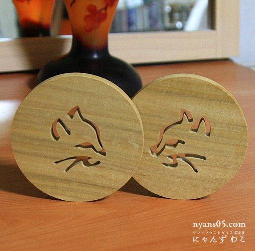 猫柄木工 コースター(丸型2個セット) CO-1