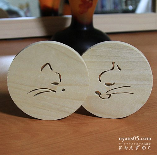 猫柄木工 コースター(丸型2個セット) CO-3