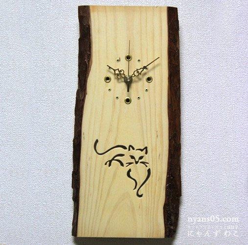 猫柄壁掛け木工時計・リラックス猫 WB-N4