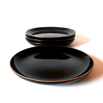 大正期漆器金縁皿二枚組