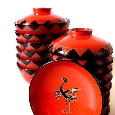 大正期鶴蒔絵漆器椀