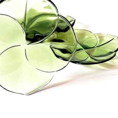 葉っぱの形のガラス皿4P/SET