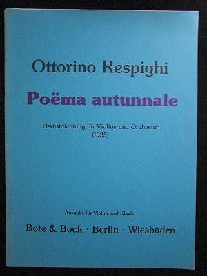 レスピーギ Ottorino Respighi  / 秋の詩   for Vin&pf 編曲 状態B- *経年によるシミの侵食有