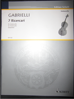ガブリエッリ Domenico Gabrielli  / 7 Ricercari  for cello