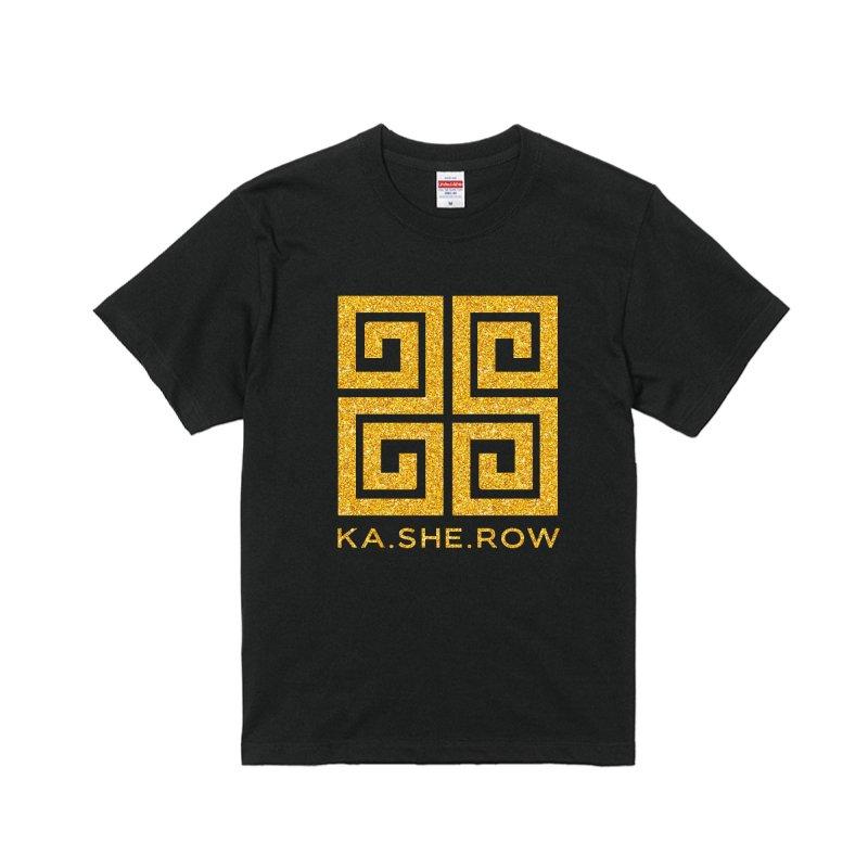 KA・SHE・ROW   Tシャツ 黒×ゴールド
