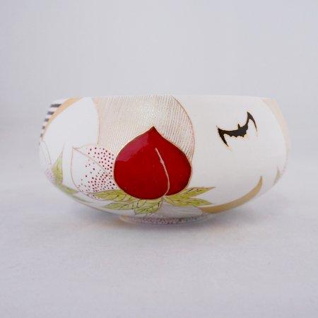 桃と蝙蝠 平碗 (木箱入り)