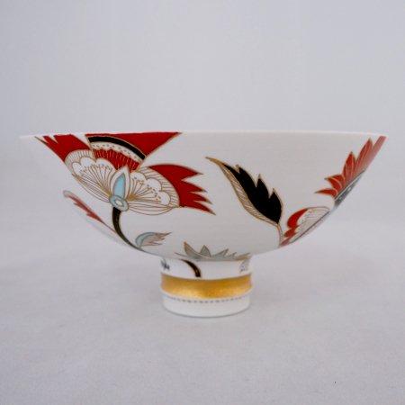更紗草花文茶碗 (木箱入り)
