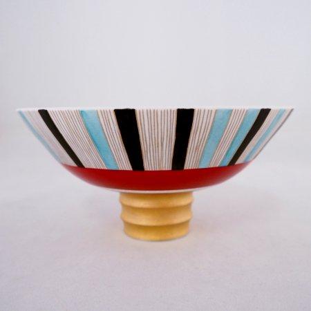 赤帯ストライプ茶碗 (木箱入り)