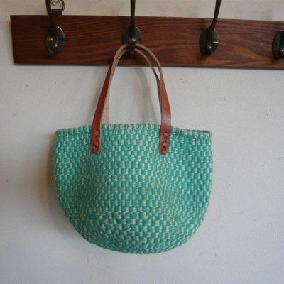 ウールサイザル革手バッグ ミニチェッカー柄