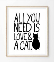 THE LOVE SHOP | ALL YOU NEED IS LOVE AND A CAT | A4 アートプリント/ポスター