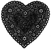 ASHLEY GOLDBERG | HEART DOILY ART PRINT (black) | アートプリント/ポスター