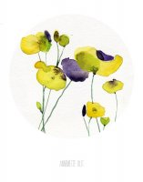 THE CLAY PLAY | YELLOW AND PURPLE POPPIES | A3 アートプリント/ポスター