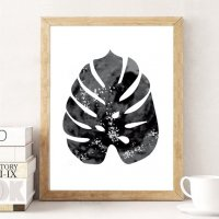 LOVELY POSTERS | MONSTERA LEAF (black) | A3 アートプリント/ポスター