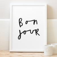 OLD ENGLISH CO. | BONJOUR PRINT (BLACK/WHITE BACKGROUND) | A4 アートプリント/ポスター