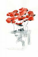 DUEALBERI | RED POPPY WATERCOLOR PRINT | A3 アートプリント/ポスターの商品画像