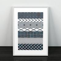 LES TEMPS MODERNES | TILES PRINT (navy blue) | A3 アートプリント/ポスター