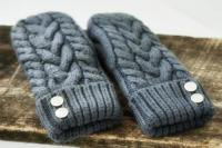 CHERRYT KNIT & CO. | CABLE KNIT MITTENS (grey) | レディース手袋