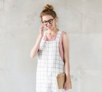 not PERFECT LINEN | SHORT SQUARE CROSS LINEN APRON (large checks) | エプロン