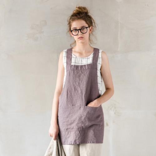 not perfect linen short square cross linen apron mocha. Black Bedroom Furniture Sets. Home Design Ideas