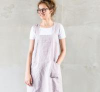 not PERFECT LINEN | PINAFORE - SQUARE CROSS LINEN APRON (ashes of rose) | エプロン