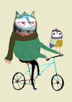 ASHLEY PERCIVAL | CAT AND OWL FRIEND ON BIKE | A3 ポスター/アートプリントの商品画像