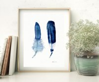 THE CLAY PLAY | WATERCOLOR DEEP BLUE FEATHER (DOUBLE) | A4 アートプリント/ポスター