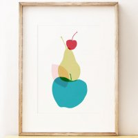SHAPE COLOUR PATTERN | Apple Pear Cherry - graphic fruit wall art | A3 アートプリント/ポスター