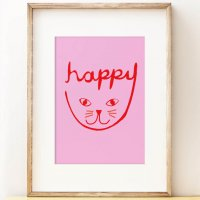 SHAPE COLOUR PATTERN | Happy Cat print - children's nursery wall art | A3 アートプリント/ポスター