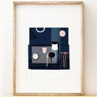 SHAPE COLOUR PATTERN | Blue Still Life - contemporary still life art | A3 アートプリント/ポスターの商品画像