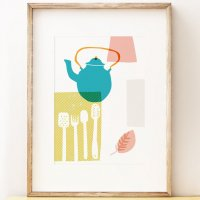 SHAPE COLOUR PATTERN | Blue Kettle - abstract kitchen wall art | A3 アートプリント/ポスター