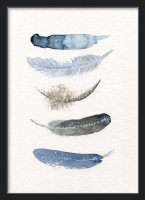 THE CLAY PLAY | WATERCOLOR BIRD FEATHERS (blue/black) | A2 アートプリント/ポスター