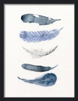 THE CLAY PLAY | WATERCOLOR BIRD FEATHERS (blue/navy) | A2 アートプリント/ポスターの商品画像