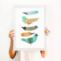 THE CLAY PLAY | BIRD AND FEATHER WALL ART (no.720) | A2 アートプリント/ポスターの商品画像