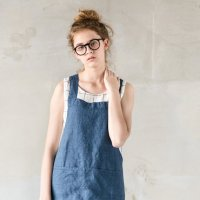 not PERFECT LINEN | SHORT SQUARE CROSS LINEN APRON (denim) | エプロン