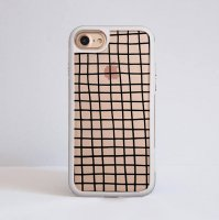 DESSI DESIGNS | CROSS STRIPES / GRID (clear/white) | iPhone 7ケース