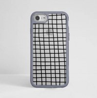 DESSI DESIGNS | CROSS STRIPES / GRID (clear/gray) | iPhone 7ケース