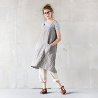not PERFECT LINEN | PINAFORE - SQUARE CROSS LINEN APRON (stripes) | エプロン