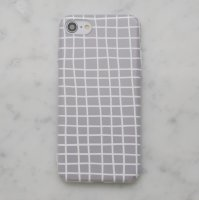 【ネコポス送料無料】DESSI DESIGNS | CROSS STRIPES / GRID (light grey) | iPhone 8ケース