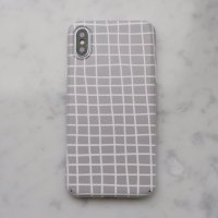 【ネコポス送料無料】DESSI DESIGNS | CROSS STRIPES / GRID (light grey) | iPhone X/XSケース