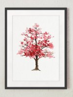 COLOR WATERCOLOR | Cherry Blossom Tree Art Print | A3 アートプリント/ポスター
