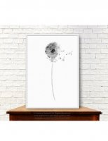 COLOR WATERCOLOR | Gray Dandelion Art Print #2 | A3 アートプリント/ポスター