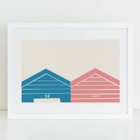 SHAPE COLOUR PATTERN | Beach hut graphic wall art print 'Hut 54' | A3 アートプリント/ポスター