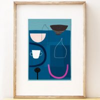 SHAPE COLOUR PATTERN | Modern 'Blue Still Life 2' art print | A3 アートプリント/ポスター